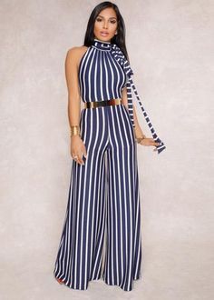 Dark-blue Backless Halter Wide Leg Stripe Sexy Jumpsuit @ Sexy Rompers And Jumpsuits For Women-Strapless Jumpsuit,Long Sleeve Jumpsuit Strapless Jumpsuit, Floral Jumpsuit, Denim Jumpsuit, Floral Romper, Black Jumpsuit, Chic Outfits, Dress Outfits, Fashion Outfits, African Fashion Dresses