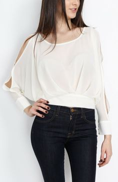 Ivory Pleated Long Sleeve Top With Open Back - #WholesaleTops, #Casual #DayTops, #Boutique #WholesaleBoutique, #Nasty #Sexy, #Spring #SpringWear