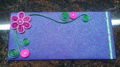 Quilling envelope. Flower. Pink. Pearls.