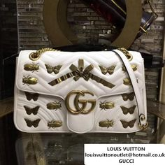 Gucci GG Marmont Animal Studs Medium Matelass Shoulder Bag 443496 White 2017 (MH-7110602 ) Purses 2017, Gucci Shoulder Bag, Shoulder Bags, Designer Bags For Less, Gg Marmont, Bag Sale, Purses And Bags, Suitcase, Studs