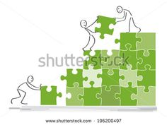 Teamwork concept, people work together, assemble puzzle pieces