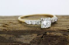 1950s Diamond Engagement Ring Set In 14-Karat Yellow Gold, $895 | 25 Vintage Engagement Rings You Can Actually Afford