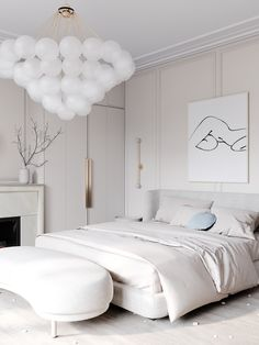 Loving this fresh bedroom design from We are still obsessed with bubble chandeliers, what about you? Master Bedroom Interior, Bedroom Decor, Bedroom Bed, Apartment Interior Design, Autocad, Interiores Design, Behance, Sweet Home, Decoration