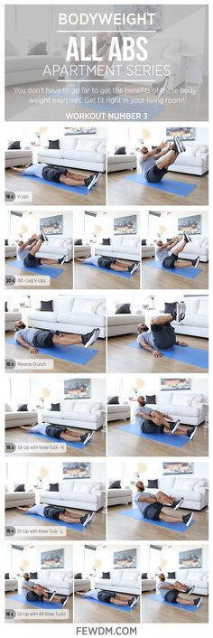 Get a hard core workout in the comfort of your living room with these bodyweight exercises!  Workout #3 in the Apartment Series, All Abs. www.FEWDM.com