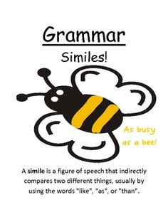 "Fern Smith's Grammar Center Game ""Similes!""   Perfect for Word Work / Writing / Homework"
