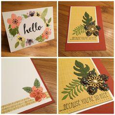 Een simpele wenskaart met een bloemencirkel, waarbij ik de bloemen een glanslaagje heb gegeven met de Wink of Stella pen. De andere kaart is in de kleuren van de lijn gemaakt met het DSP en de Botanicals For You stempelset uit de Sale-A-Brations folder.