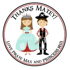 20 Pirate and Princess 2 inch Stickers perfect for birthday party favors and decor.. $5.50, via Etsy.
