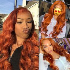 Burnt Orange Hair Color, Hair Color For Dark Skin, Ginger Hair Color, Hair Color Auburn, Colored Wigs, Colored Hair, Colored Braids, Dope Hairstyles, Weave Hairstyles