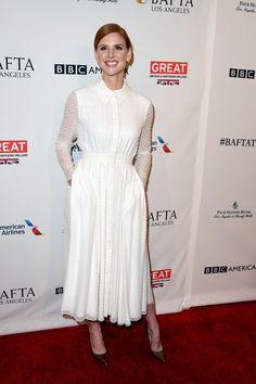Pin for Later: On Donnerait des Récompenses à Ces Stars Tellement Leurs Looks Pré Golden Globes Sont Réussis Sarah Rafferty à la tea party organisée en l'honneur des BAFTA Awards de 2016