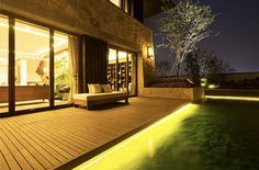 Merbau Decking & Merbau Timber Decking Melbourne - Out Deco Living Backyard Lighting, Patio Lighting, Lighting Ideas, Exterior Wall Light, Exterior Lighting, Merbau Decking, Modern Landscape Lighting, Timber Deck, Outdoor Light Fixtures