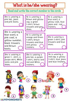What is he-she wearing? English Grammar For Kids, Teaching English Grammar, English Lessons For Kids, Learn English Words, Spanish Lessons, English Vocabulary, English Activities, Teaching Activities, English Teaching Materials
