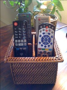 Silverware basket to hold our remote controls (This one from Target)