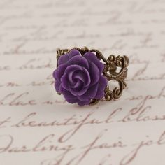 VIOLETTA Romantic Rose Filigree Flower Ring... I want this!! One) I have a purple rose tattoo Two) my Spanish name in high school was Violeta cuz purple rocks!