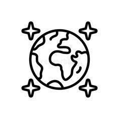 Globe icon. Earth sign. World symbol. Simple thin line