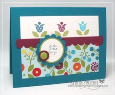Stampin Up, Card, Bright Blossoms stamp set, Summer Smooches DSP
