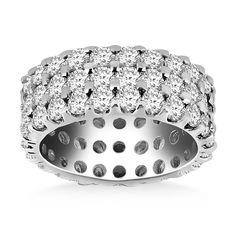 14K White Gold Triple Band Round Diamond Eternity Ring