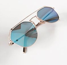 * Amazing statement reflectors in blue * Feature metal line across top Blue Sunglasses, Mirrored Sunglasses, Eyewear, Nice, Metal, Accessories, Eyeglasses, Metals, Sunglasses