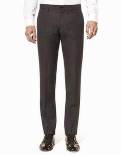 Pantalon de costume micro-armuré coupe slim laine - SPELBA_NOIRMETROSTATIONB - Vue de face - Celio France