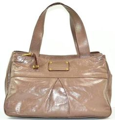 Marc Jacobs Nude Taupe Smooth Leather Pleated Tote Handbag Bag