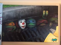 Stephen King's IT with Teenage Mutant Ninja Turtles TMNT Painting by PAPA Provocative Adult Pop Art Pop Culture Icons Pennywise the clown