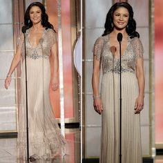 Catherine Zeta-Jones wowed at the Golden Globes in a Jenny Packham dress, Pelle Moda shoes, and Van Cleef and Arpels jewelry.