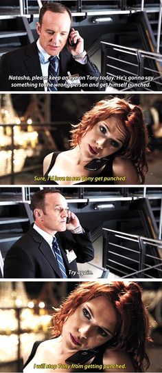 At first, Black Widow was all excited about her new Tony Stark mission, but then Agent Coulson had to expand its parameters. So disappointing.