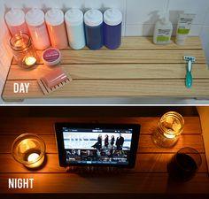 Project complete! DIY Shower/Tub Shelf.