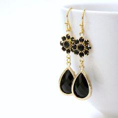 Sweet Thing. Black Noir Swarovski Crystal Flower by LePetitRuban, $34.00