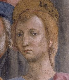 8- MASACCIO - San Pietro risana con l'ombra (dettaglio) - affresco - 1424-1428 - Cappella Brancacci (parete sinistra), Chiesa di Santa Maria del Carmine, Firenze.