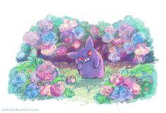 purple by Paleona on DeviantArt <<< such a cute art of Gengar Pokemon Comics, Pokemon Memes, All Pokemon, Pokemon Fan Art, Cute Pokemon, Ghost Type, Kawaii Chibi, Geek Art, Cool Art