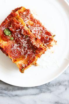Vegetarian Lasagna with Eggplant, Zucchini, and Cashew Ricotta - pumpkinandpeanutbutter Lasagna With Ricotta, Cashew Ricotta, Eggplant Zucchini, Eggplant Lasagna, Traditional Lasagna, Vegetarian Main Dishes, Vegan Parmesan, Homemade Sauce, How To Cook Pasta