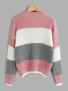 Shop Drop Shoulder Color Block Sweater at ROMWE, discover more fashion styles online. Cute Sweaters, Sweaters For Women, Knit Sweater Outfit, Modern Clothing, Modern Outfits, Color Block Sweater, Romwe, Color Blocking, Cloths