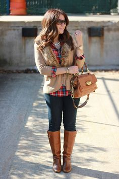 plaid shirt, jeggings, riding boots, pearls