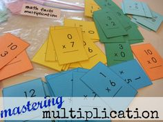 mastering multiplication tables (with mini flash cards): This is a good pro/con writing about the use of flash cards. Well worth the read. Math Help, Fun Math, Kids Math, Homeschool Math, Homeschooling, Flash Card Template, Teaching Math, Teaching Tools, School Classroom