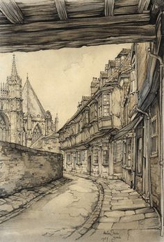 drawing by Anton Pieck Reistekening, Engeland ~ Repinned 4 U by Karen of AZdesertTrips.com