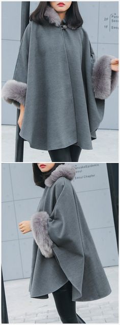 The coat is featuring long sleeve, solid color, cloak design and fur trim. The coat is casual and fashion. Poncho Outfit, Dress With Cardigan, Kpop Outfits, Korean Outfits, Next Fashion, Winter Fashion, Fur Trimmed Cape, Modest Fashion, Fashion Outfits