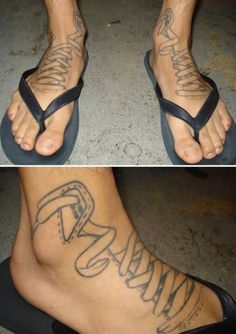 Laced up sneaker foot tattoo