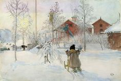 """The Yard and Wash-House""  by Carl Larsson....watercolour on paper"