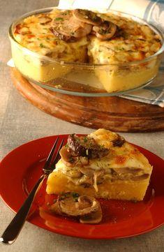 Torta di polenta, funghi e fontina- Originally from the region Piedmont/Italy Light Recipes, Wine Recipes, Gourmet Recipes, Vegetarian Recipes, Dessert Recipes, Italian Desserts, Italian Dishes, Italian Recipes, Italian Pasta