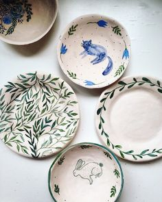 Hand painted | ceramic plates | design | animals