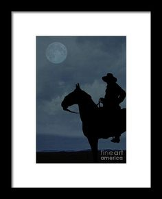 Cowboy on the range by Edward M. Fielding - a horse and cowboy under the moonlight.  Fine art prints available for purchase - https://pixels.com/featured/cowboy-on-the-range-edward-fielding.html