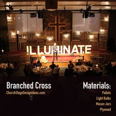 Illuminate - Our first stage design idea posted on CSDI - pallet wood, mason jar pendant lights, marquee sign & Church Interior Design, Church Stage Design, Mason Jar Pendant Light, Pendant Lights, Christmas Stage Design, Church Lobby, Youth Rooms, Modern Church, Stage Decorations