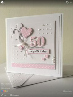 100th Birthday Card, Happy Birthday Cards, Handmade Birthday Cards, Greeting Cards Handmade, Beautiful Handmade Cards, Square Card, Pretty Cards, Paper Cards, Creative Cards