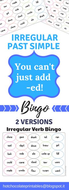 Practice past simple irregular verbs that don't end in -ed! 50 Bingo boards in two different versions. Two ways to play. Past Simple Boards and Present Simple Calling Cards or Present Simple Boards and Past Simple Calling cards! Great for ESL or 3rd grade verb practice!