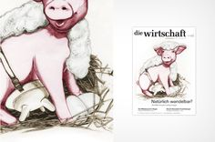 illustration for a business magazine, pig, wollmilchsaum ball pen