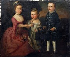 18th Century English School - Oil painting - Full length portrait of two young girls and a boy, the youngest girl holding a doll in her arms, the oldest girl placing a rose on her dress, set in a landscape