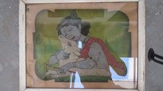 A 1920's Wooden Framed Fine Embroidery Picture of Lord Krishna with a Cow. Indian Hindu Gods Needlework Handmade Stitched Tapestry Mount. by Lallibhai on Etsy