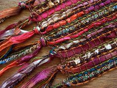 sheer handwoven scarf in warm rich colors por masonke en Etsy, $54.00