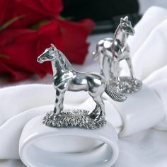 Horse Napkin Ring - Pewter & Stoneware (set of 4)