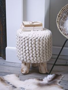 Chunky Knit Mini Stool - Furniture, Cox and CoxSmall but perfectly formed with stylish eucalyptus wood legs and oversized chunky wool knit; this lightweight decorative stool adds a touch of Scandi style to your living or sleeping space. Wedding Gift List, Deco Nature, Nature Decor, Style Deco, Cottage Interiors, Crochet Home, Occasional Chairs, Home And Living, Living Room